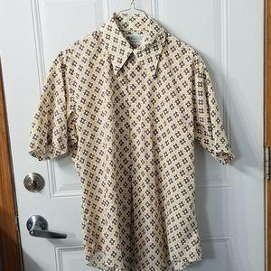 Mens Vintage 70s short sleeve button down sz large